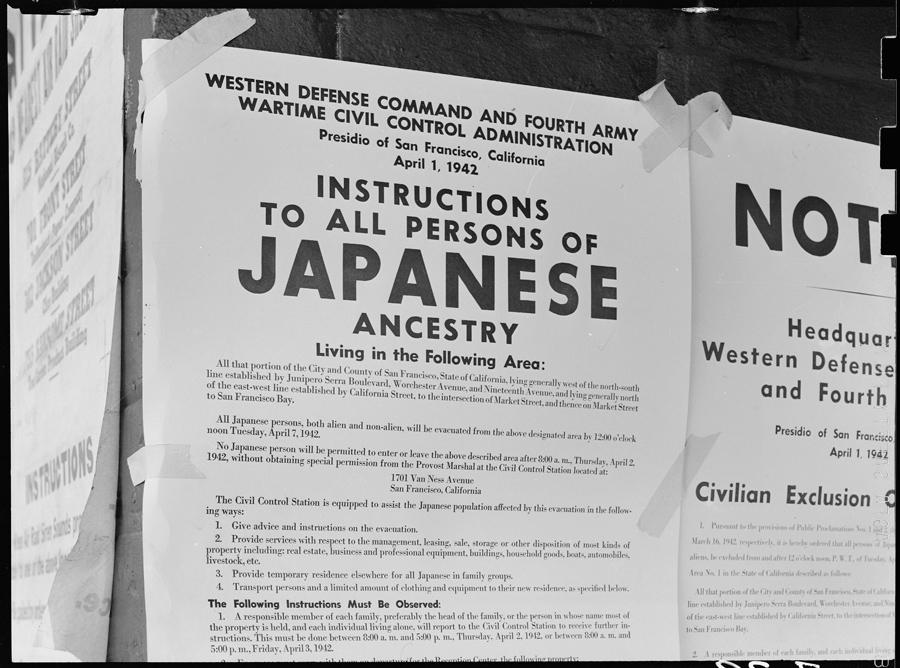 San Francisco, Californie. Ordre d'évacuation touchant tous les américains d'ascendance japonaise. L'ordre est daté du 1er avril 1942. L'expulsion du dernier habitant est exigée pour le 7 du mois.