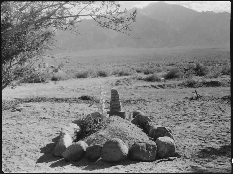Centre de déportation de Manzanar, Californie. La toute première tombe du centre de Manzanar. Elle contient les cendres de M. Matsinosuke Murakami, 62 ans, qui mourut d'une maladie du cœur le 16 mai. Malade depuis son arrivée, il était resté enfermé à l'hôpital du centre depuis le 23 mars.