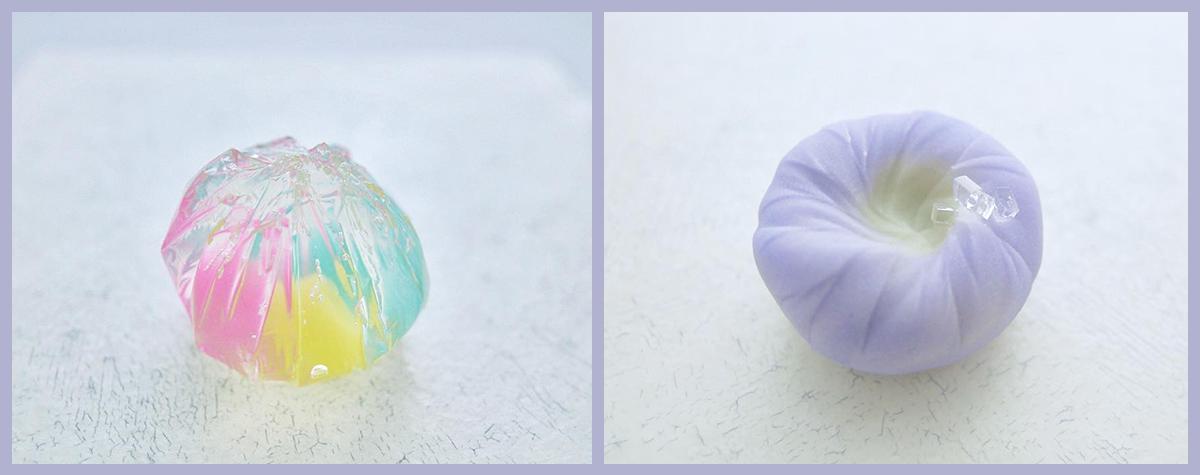 A base de gelée d'agar-agar ou de pâte de haricot confit, les créations de Shiho Sakamoto nous émerveillent de leurs couleurs bariolées.