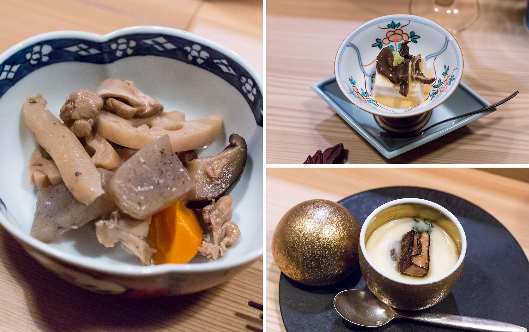 Game-ni, gomadofu et flan au foie gras. Tout en légéreté